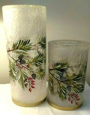 2P SET YANKEE CANDLE WINTER SPARROW FROSTED CRACKLE GLASS TEA LIGHT HOLDERS VHTF