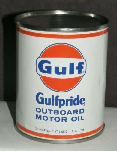 GULF GULFPRIDE OUTBOARD MOTOR OIL CAN Full METAL 1/2 PINT 1960