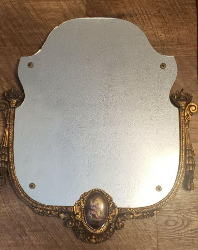 Antique vintage frameless wood & gilt gesso wall mirror ornate gold porcelain