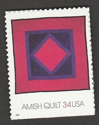 Amish Single (US 3524 Amish Quilts Diamond in the Square 34c single MNH 2001)