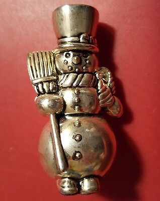 Heavy Snowman Place Card Holder Silver Plated - Placecard Holder