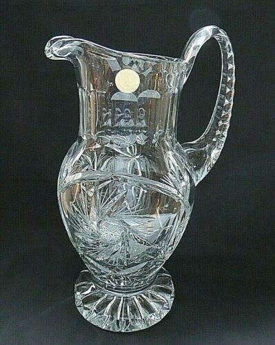 "Vintage Poland 24 Lead Crystal Cut & Etched Large 10.5"" Pedestal Pitcher w/ Tag"