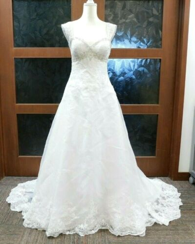Organza Empire Wedding Dress with Removable Straps White Size10 (40-31-45 +)