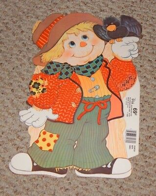 1984 Flocked Halloween Scarecrow Decoration by Peck UNUSED OLD STORE STOCK - Halloween Scarecrow Decoration