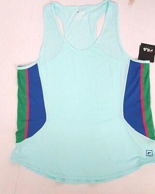 FILA Sport Womens Racerback Running WICKING Work Out TANK TOP Size L M Blue