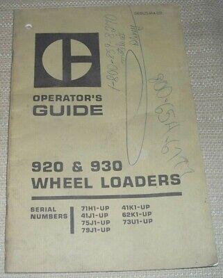 Cat Caterpillar 920 930 Wheel Loader Operators Operation Manual Book Guide