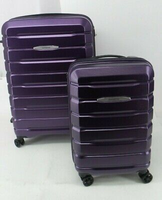 Samsonite Tech Two Purple Roller Spinner Carry On Friendly Suitcase Set Of Two