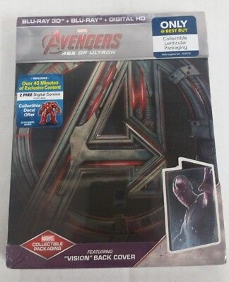 Avengers Age of Ultron Blu-Ray 3D Steelbook 'Vision Back Cover' - NEW SEALED