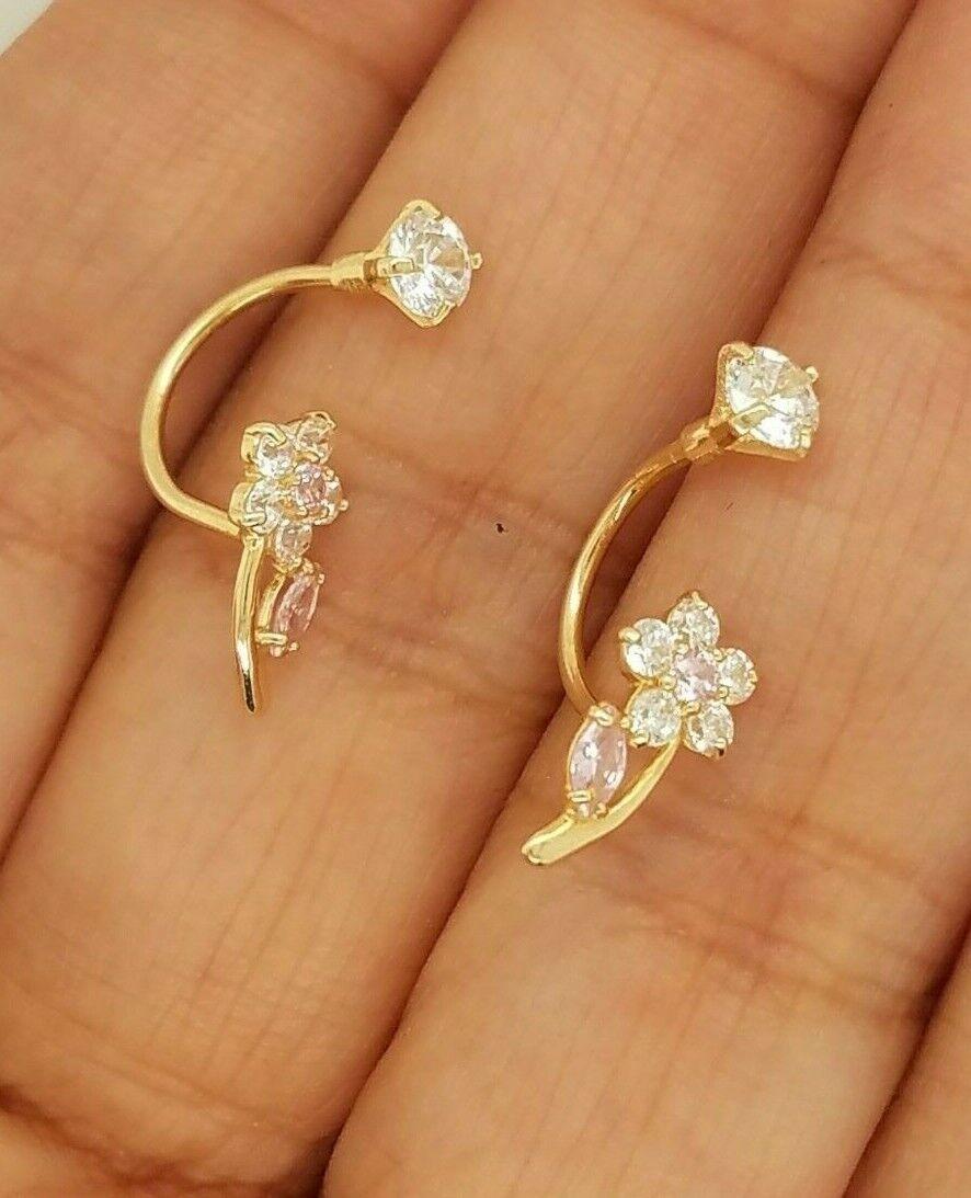 14K Yellow Gold Flower Dangle Earring Telephone Pink 0.25 CT Diamond Women Kids