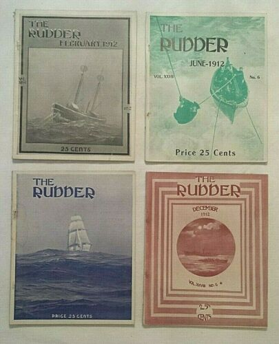 Antique Lot (4) THE RUDDER Magazines Feb. June July Dec. 1912 Yachting Boating