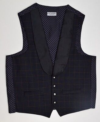 M1940 CLASSIC FASHION MEN'S CHECKED CHARCOAL WAISTCOAT SIZE M