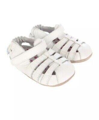 Robeez Mini Shoez Infant Girl's Paris Fashion White Sandals Shoes 18-24 Months