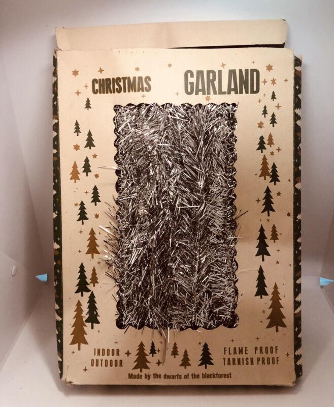 """Western German Silver Tinsel 2"""" Christmas Garland Dwarf Black Forest"""