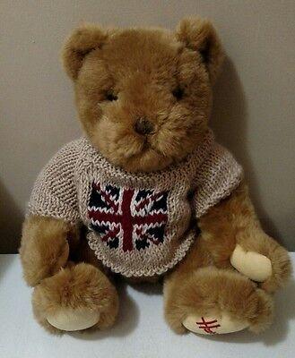 "Harrods Knightsbridge Teddy Bear 12"" Union Jack British Flag UK Plush Stuffed"
