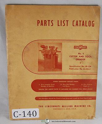 Cincinnati No. 2 Em Cutter And Tool Grinder Parts Manual 1939