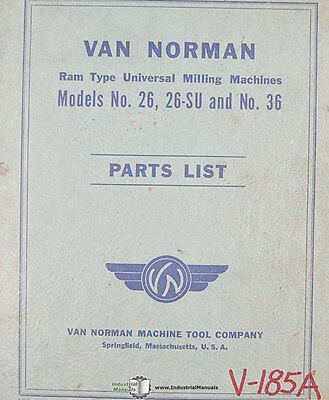 Van Norman 26 26su 36 Milling Parts List Manual