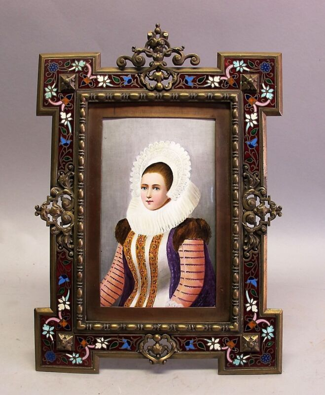 Superb & Large FRENCH BRONZE CHAMPLEVE FRAME w/ ENAMEL PAINTING  c. 1890 antique