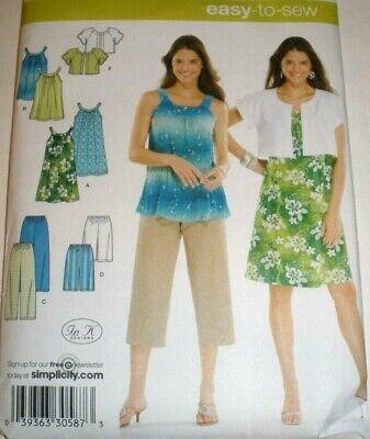 SIMPLICITY 3799 PATTERN TANK DRESS TUNIC TOP CROPPED PANTS SHORTS 4-16 or 18-26 Dress Top Pants Shorts