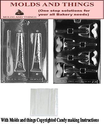 Tooth lolly Chocolate Candy Mold, Toothpaste with Brush chocolate candy mold](Tooth Candy)