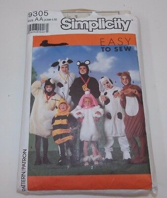 Simplicity Easy to Sew Animal Costumes Adult XS-L Boy Girl S-XL #9305 Halloween - Adult Halloween Crafts
