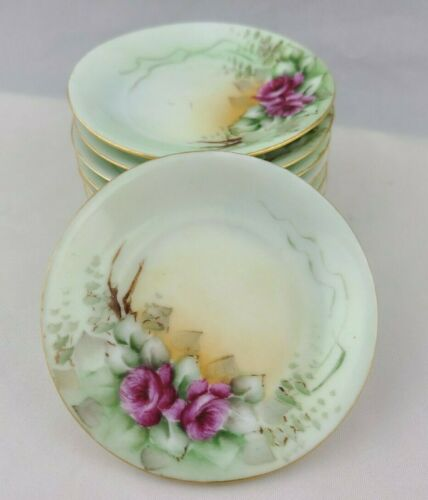 6 Antique Hand Painted Pink Rose Butter Pats