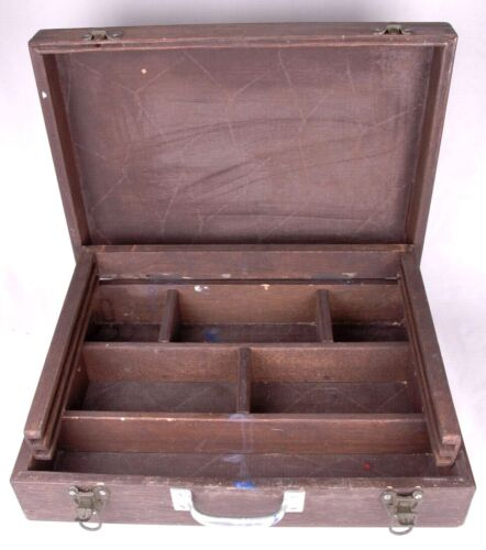 Vtg EXCELSIOR Art Pochade Dark Wood Paint Box-Metal Handle-Paint Case-Distressed