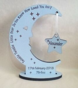 Personalised Newborn Baby Boy  Gift Present Christening Keepsake Moon Star
