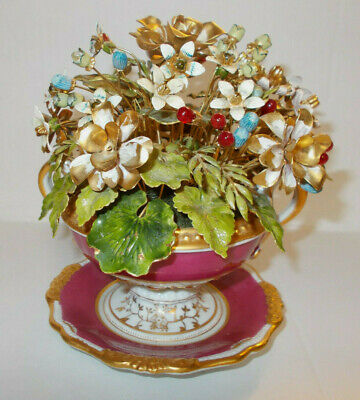 Fench Glass Beaded Flowers in White and Gold Fluted Italian Vase Mini Flower Arrangement Hand Beaded Floral Arrangement