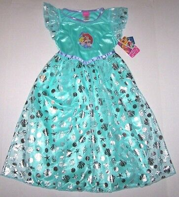 Nwt New Disney Princess Ariel the Little Mermaid Nightgown Costume Flounder Girl