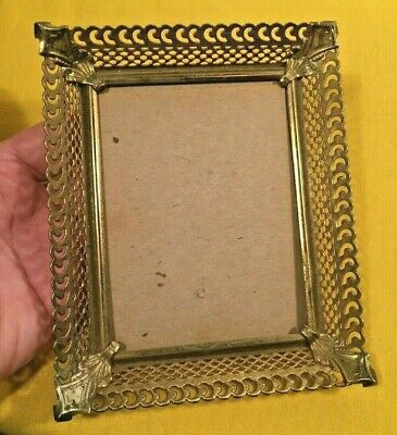 Lot of small stand up gold colored metal picture frames triple same /& triple 3 12 x 4 12  romantic wedding frames double 2 14 x 3 14