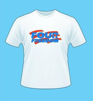FOUR FREEDOM logo t shirt men women white crew cut tshirt regular fit SMALL new (Freedom Womens Cut T-shirt)
