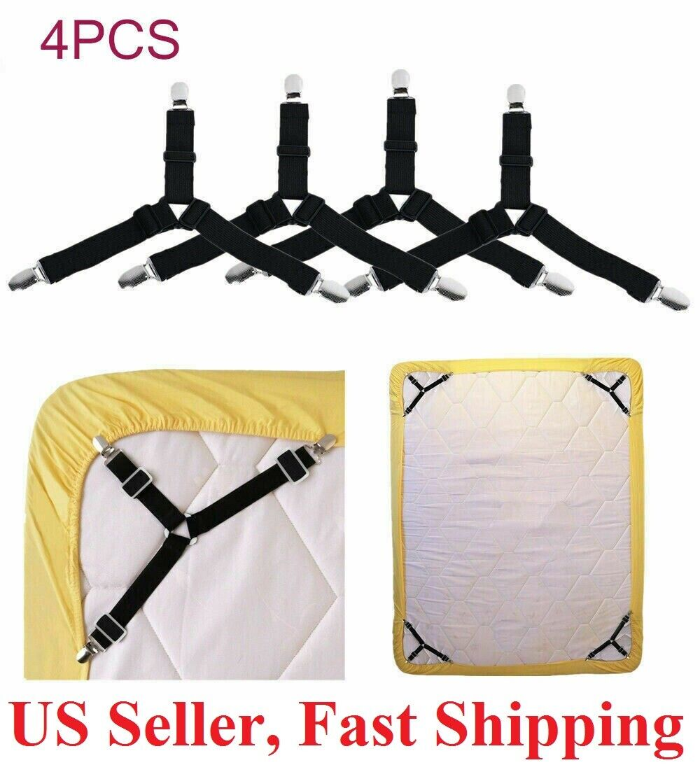 4pcs Bed Suspender Straps Mattress Fastener Holder Triangle Grippers Sheet Clips Bedding