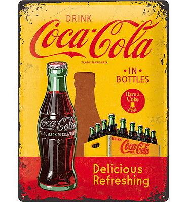 COCA COLA Blechschild - DRINK COCA COLA IN BOTTLES Logo Softdrink Coke NEU OVP