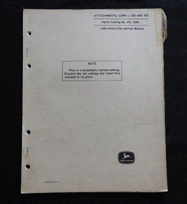 1967-69 John Deere 45 55 Combine 335 435 Corn Head Parts Catalog Manual Clean