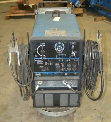 Miller Trailblazer 251 P220 Onan Gas Engine Welder With Arc Leads On Cart