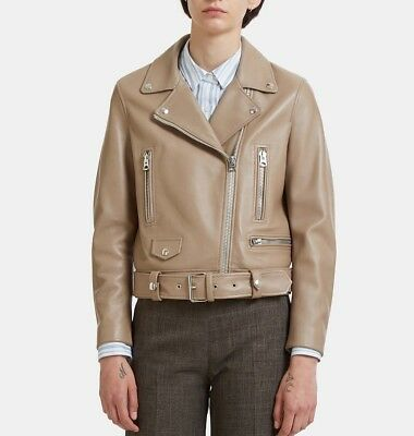 NWT $1650 Acne Studios Mock Biker Motorcycle Leather Jacket Taupe Beige 32 FR