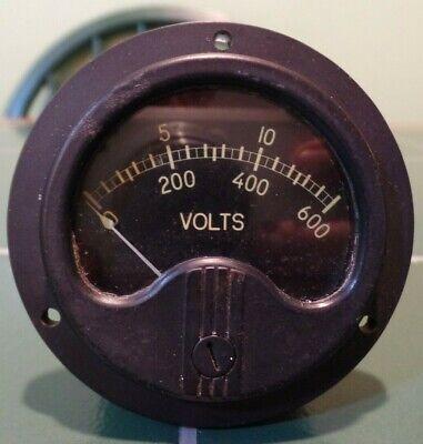 Vintage Working 2 34 Diameter 0-150-600 Voltage Panel Meter