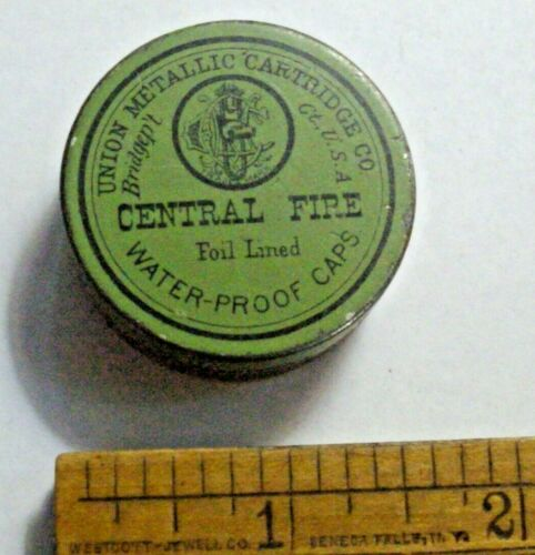 Pre 1912 Union Metallic Cartridge  Central Fire Foil Lined Water-Proof Caps Tin