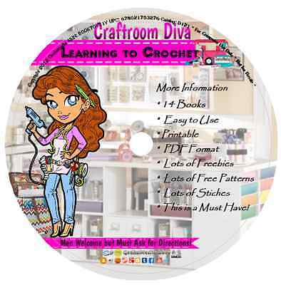 Learn to Crochet 14 Books on CD how to patterns easy stitches afghan crocheting