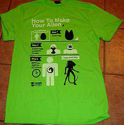 Alien-tee (HOW TO MAKE YOUR ALIEN TEE SHIRT T LARGE L GREEN BRAND NEW COMIC CON BOX)
