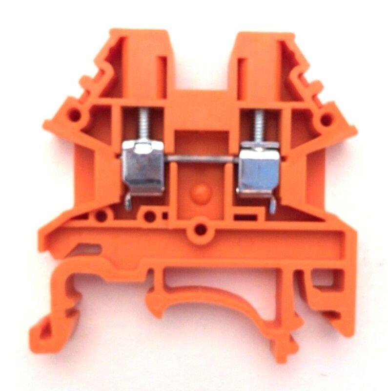 DIN Rail Terminal Blocks 10 Quantity DK2.5N-OR Orange Dinkle 12AWG 20A 600V