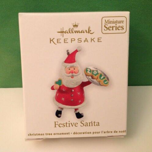 FESTIVE SANTA, Hallmark miniature ornament, 2011, New in Box