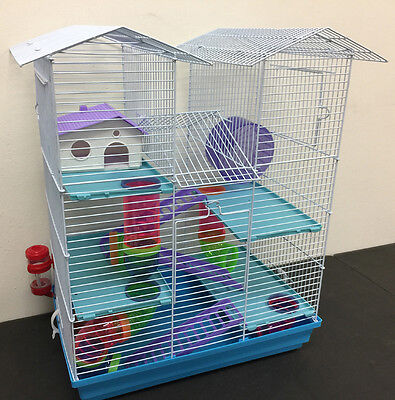 Rodent Cage - NEW 5 Floor Large Twin Tower Hamster Habitat Rodent Gerbil Mouse Mice Rats Cage