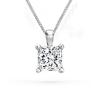 1 Ct Princess Cut Diamond Pendant with Chain Solitaire Necklace 14k White Gold