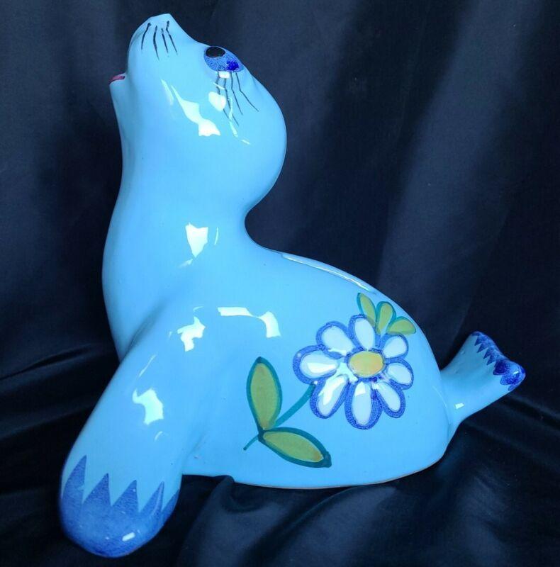 "Blue Daisy Seal Bank Ceramic Italian Hand Painted Unique Figure 7"""