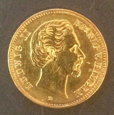 5 Mark 1877 D Bayern Gold Originalprägung