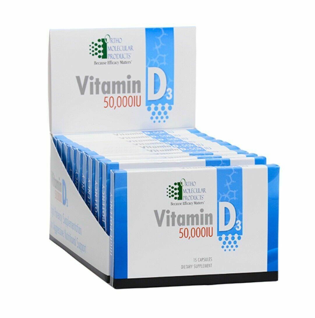 Ortho Molecular Vitamin D3 50,000 IU 10 Blister Pack of 15 Caps Each (150 Total)