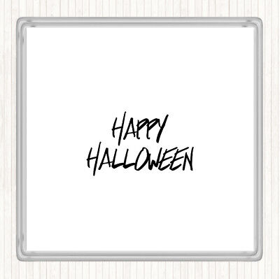 White Black Halloween Quote Drinks Mat Coaster - Halloween Drinking Quotes