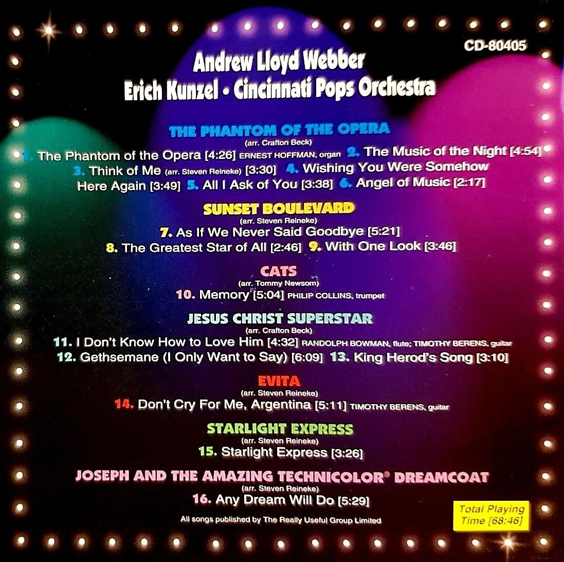 Audio CD - Broadway - Andrew Lloyd Webber By Erich Kunzel - Phantom Of The Opera - $14.99