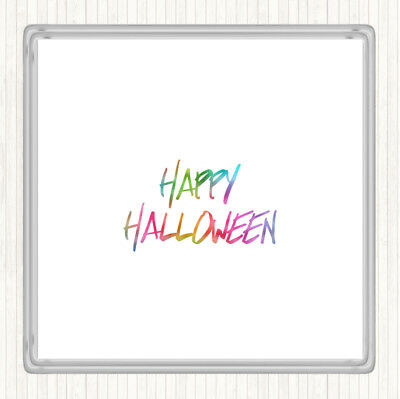 Halloween Rainbow Quote Drinks Mat Coaster - Halloween Drinking Quotes